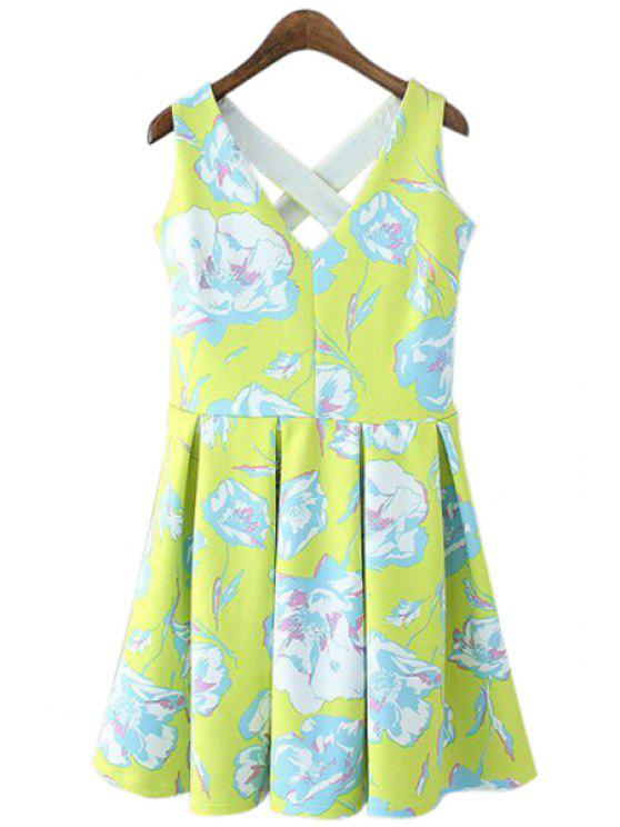 outfit Floral Sleeveless V-Neck Dress - GREEN S