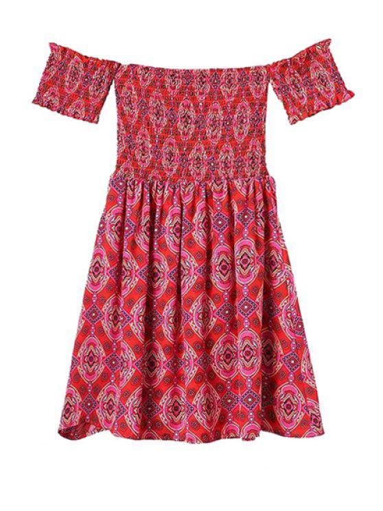 best Strapless Print Elastic Short Sleeve Dress - RED S
