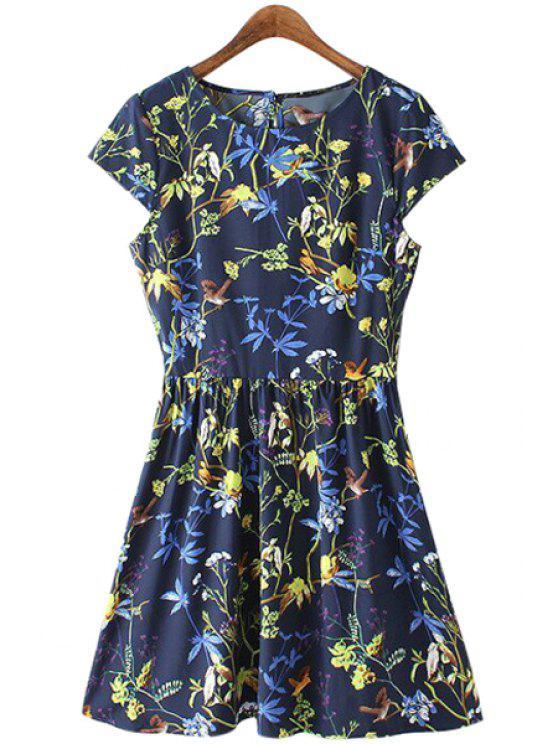 shops Floral Bird Print Short Sleeve Dress - PURPLISH BLUE S