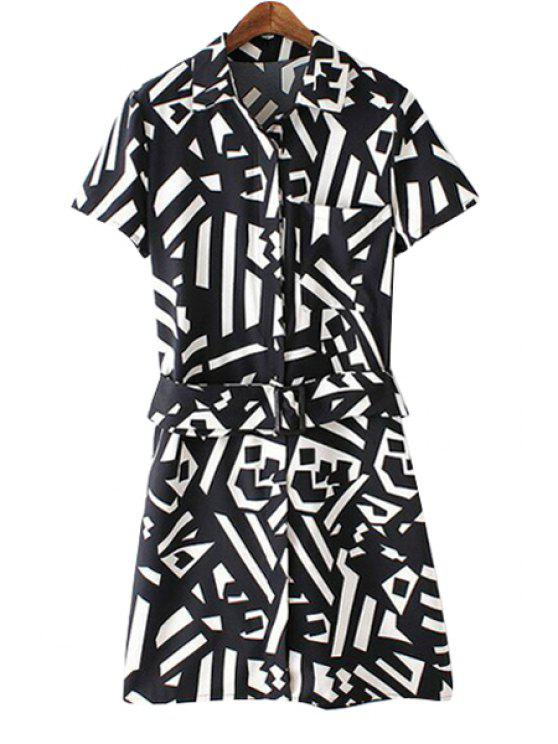 lady Turn-Down Collar Color Block Geometric Print Dress - WHITE AND BLACK S