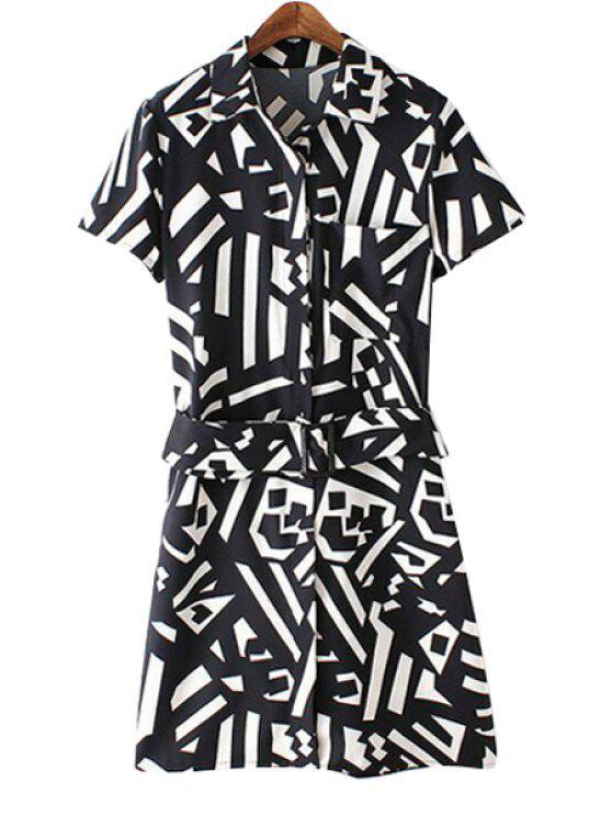new Turn-Down Collar Color Block Geometric Print Dress - WHITE AND BLACK XL