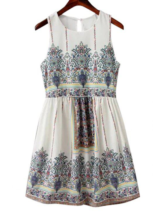 shop Colorful Tiny Floral Print Sleeveless Dress - WHITE M