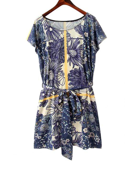 fashion Floral Print Tie-Up Short Sleeve Dress - BLUE S