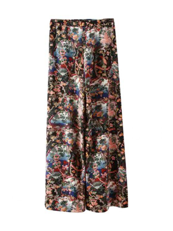 women Floral Print Loose-Fitting Pants - COLORMIX M