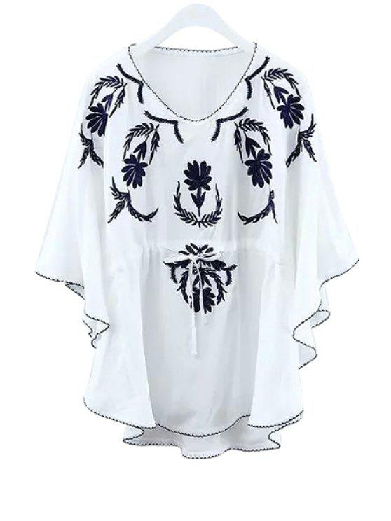 affordable Floral Embroidery Tie-Up Shirt - WHITE ONE SIZE(FIT SIZE XS TO M)