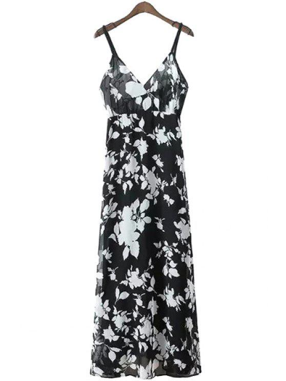 womens Spaghetti Strap White Floral Print Dress - WHITE AND BLACK S
