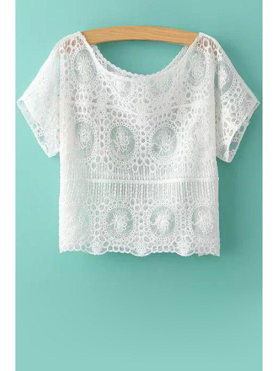 latest Scoop Neck See-Through Lace T-Shirt - WHITE ONE SIZE(FIT SIZE XS TO M)