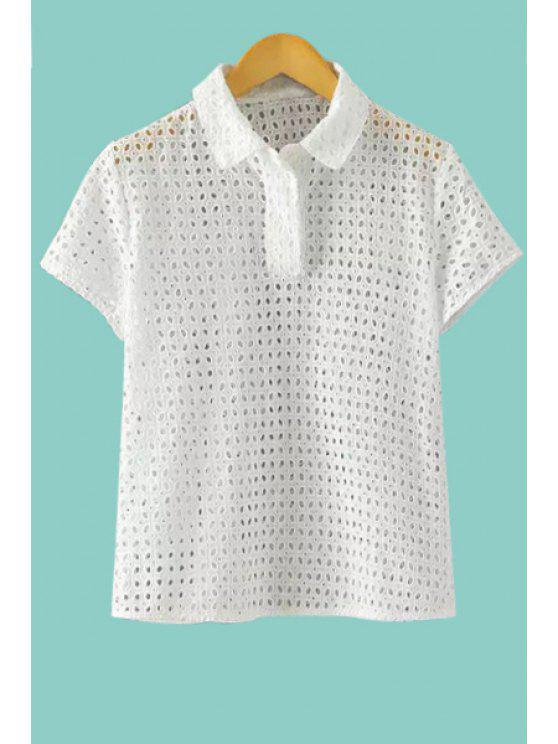 buy Openwork Solid Color Short Sleeve Shirt - WHITE S