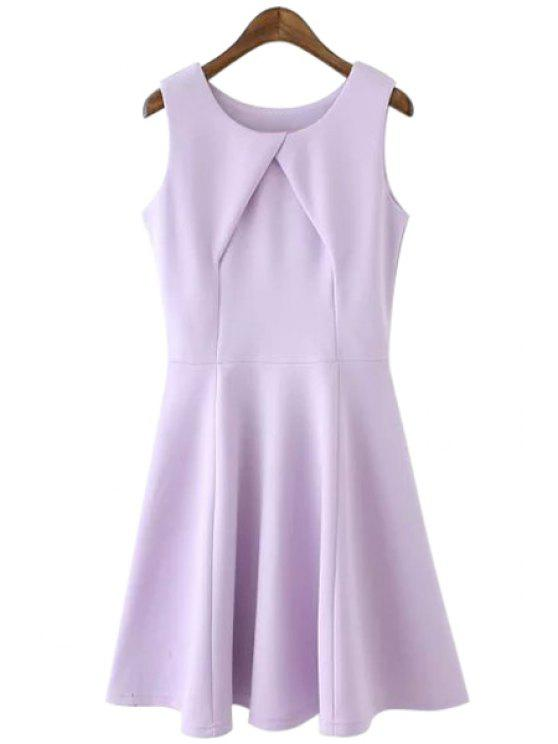 outfits Solid Color Cross Ruffle Sleeveless Dress - PURPLE L