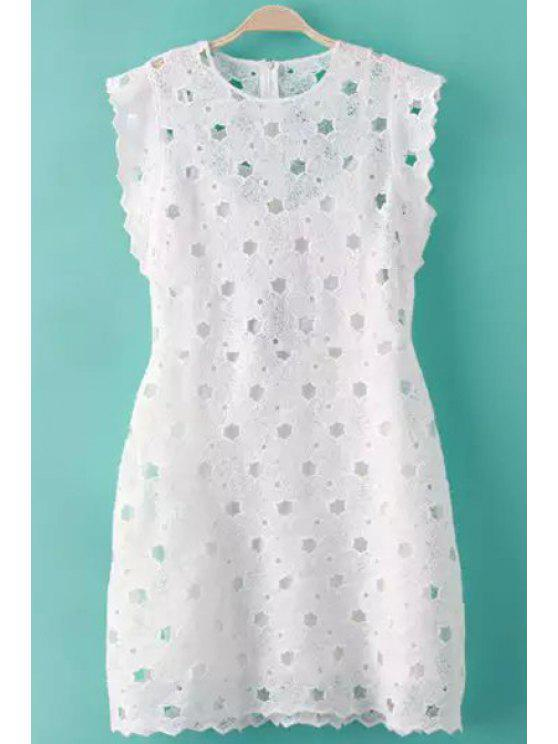 trendy Jewel Neck Solid Color Openwork Dress - WHITE S