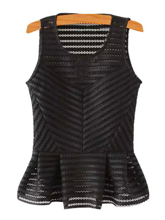 fancy Stripe Openwork Solid Color Tank Top - BLACK L