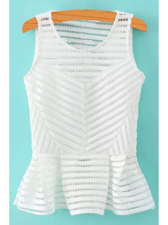 women's Stripe Openwork Solid Color Tank Top - WHITE S