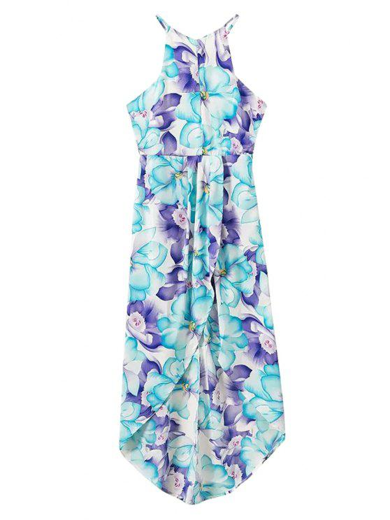 buy Spaghetti Strap Floral Print Backless Asymmetrical Dress - LIGHT BLUE S