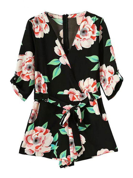 online Floral Print Half Sleeve Romper - BLACK S