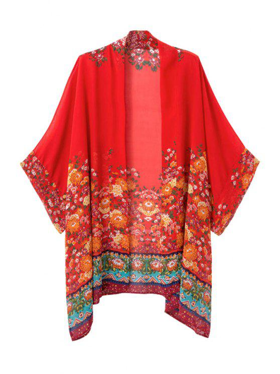 online Color Block Yellow Floral Print Coat - RED S
