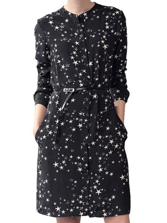 buy Star Print Buttons Belt Long Sleeve Dress - BLACK S