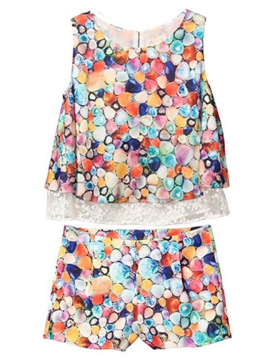 trendy Colorful Polka Dot Lace Splicing Tank Top + Shorts - COLORMIX S