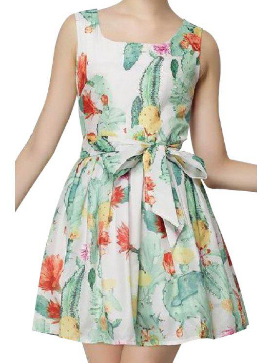 trendy U-Neck Floral Print Tie-Up Dress - WHITE S