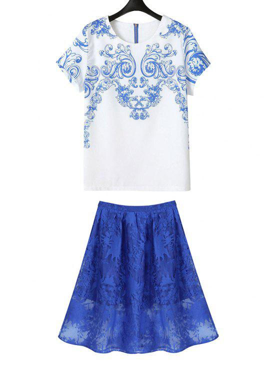 shop Blue Print Short Sleeve T-Shirt + Solid Color Skirt - BLUE AND WHITE M