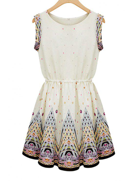 women's Print Elastic Waist Sleeveless Dress - APRICOT S