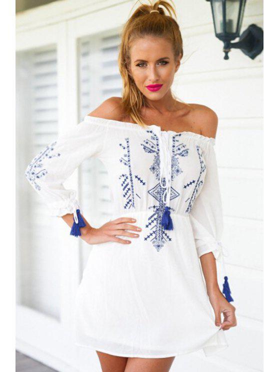fashion Blue Print Tie-Up 3/4 Sleeve Dress - WHITE S