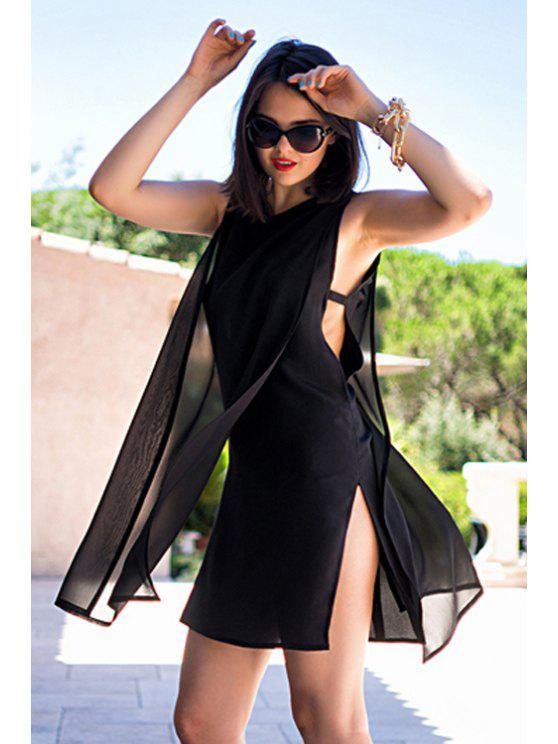 womens Solid Color Side Slit Openwork Sleeveless Dress - BLACK S