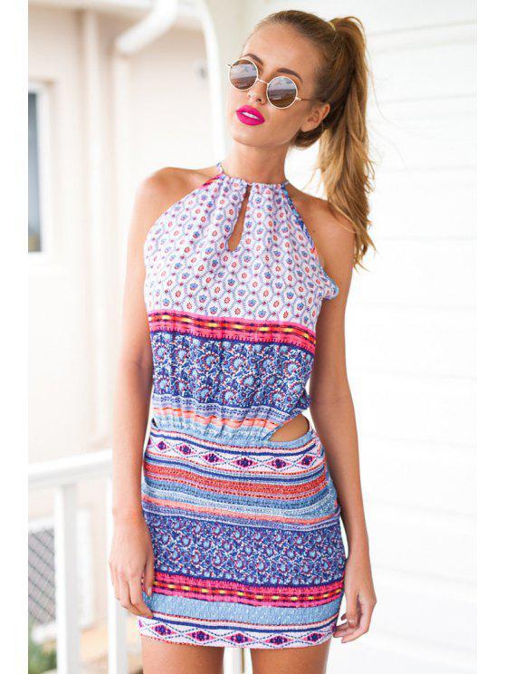 womens Argyle Stripe Print Openwork Sleeveless Dress - DEEP BLUE S