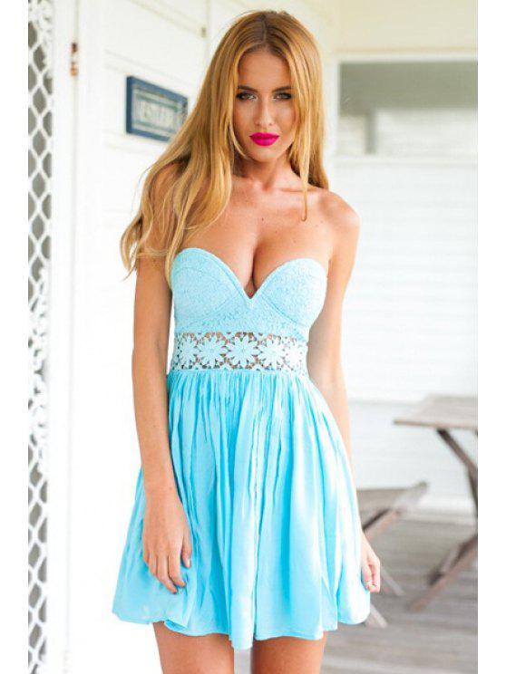 unique Strapless Floral Pattern Openwork Dress - LIGHT BLUE S
