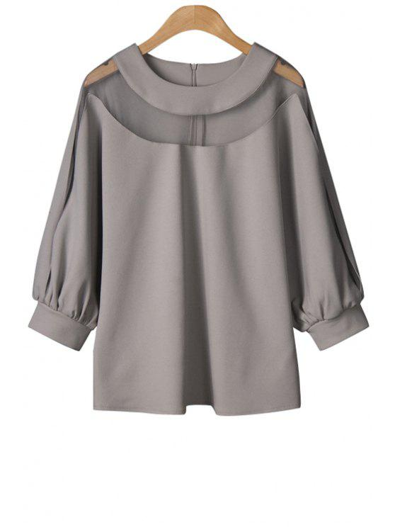 women Solid Color Voile Splicing Long Sleeve T-Shirt - GRAY ONE SIZE(FIT SIZE XS TO M)