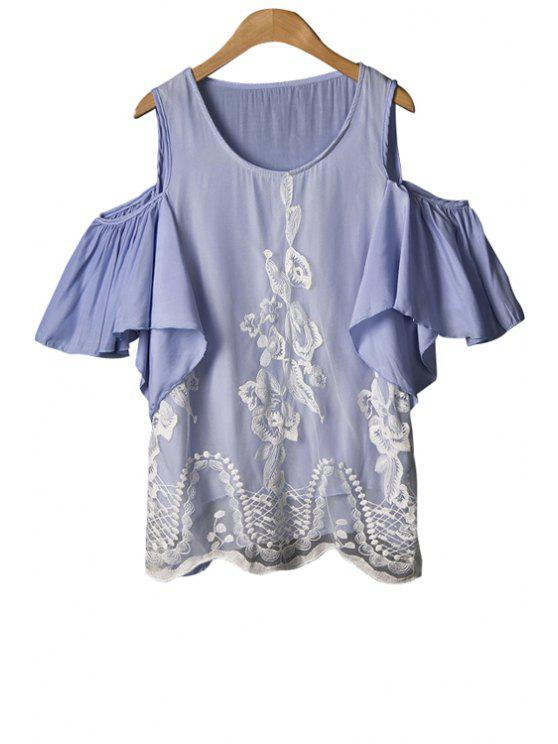 best Voile Splicing Flounce Short Sleeve T-Shirt - LIGHT PURPLE ONE SIZE(FIT SIZE XS TO M)