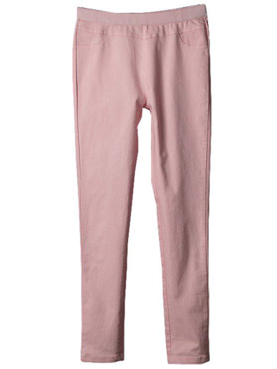 shop Solid Color Elastic Pants - PINK L