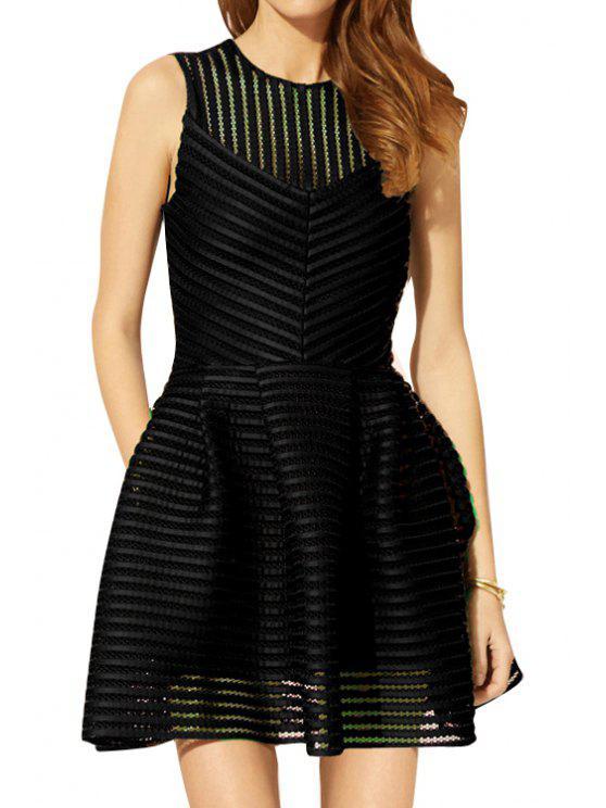 women Striped Sleeveless A-Line Dress - BLACK S