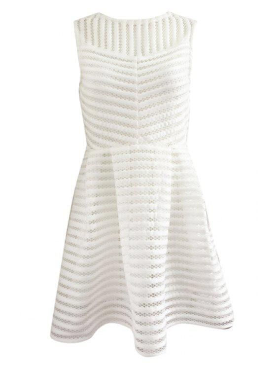 online Striped Sleeveless A-Line Dress - WHITE M