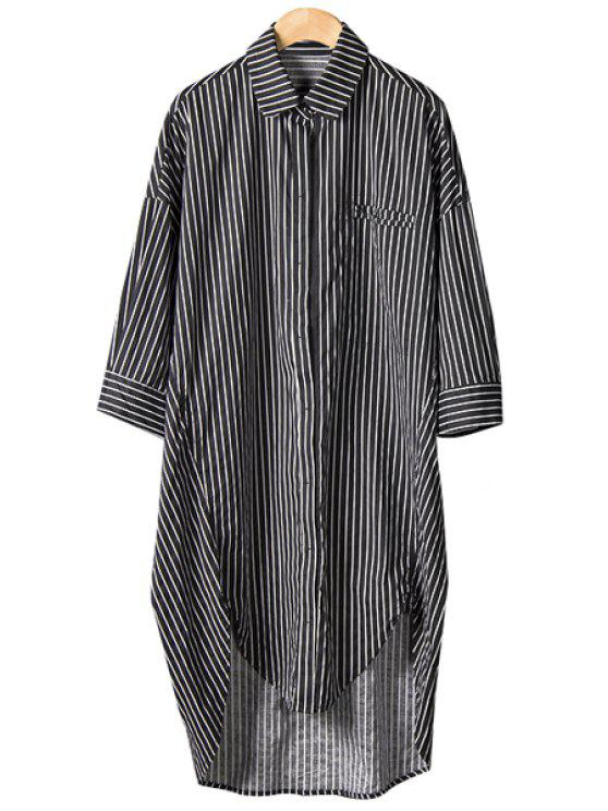 fancy Stripe Asymmetrical Half Sleeve Shirt - BLACK ONE SIZE(FIT SIZE XS TO M)