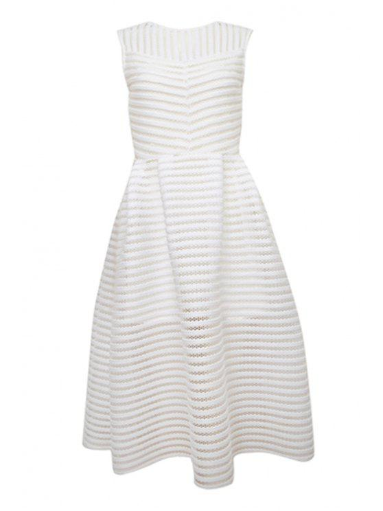 outfits Striped Solid Color Hollow Sundress - WHITE S