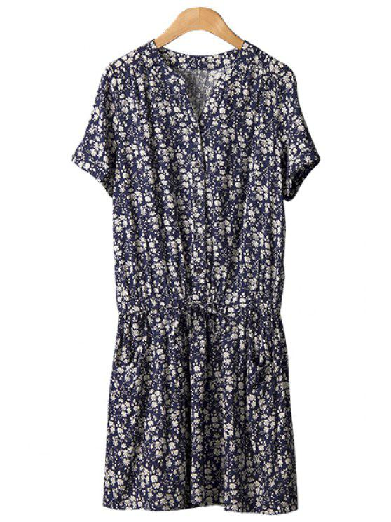 chic Tiny Floral Print Tie-Up Dress - PURPLISH BLUE M