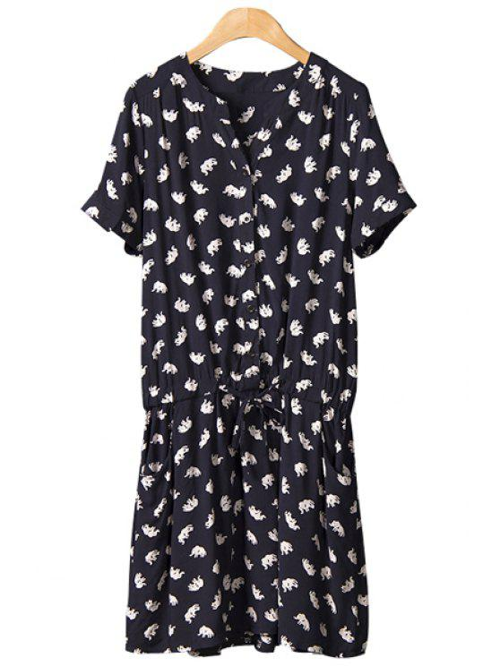 sale Elephant Print Tie-Up Dress - BLACK M