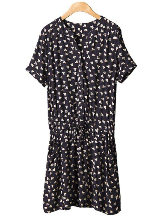 buy Chicken Print Tie-Up Dress - BLACK M