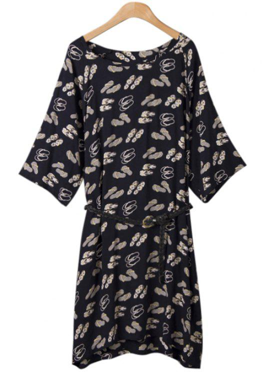 ladies Slippers Print Belt Half Sleeve Dress - WHITE ONE SIZE(FIT SIZE XS TO M)