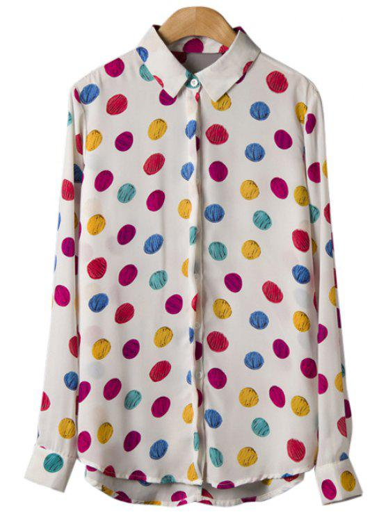 women's Colorful Polka Dot Long Sleeve Shirt - WHITE L