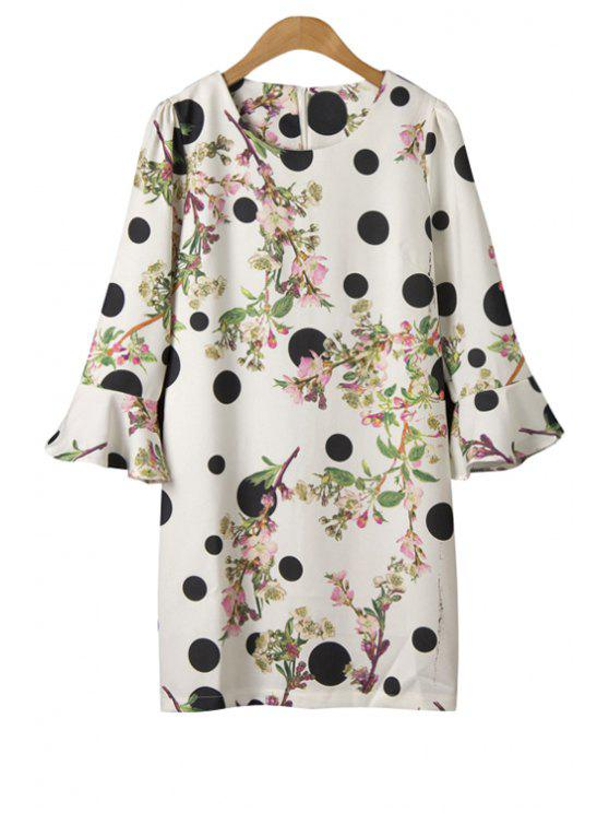 online Polka Dot Floral Print Half Sleeve Dress - WHITE ONE SIZE(FIT SIZE XS TO M)