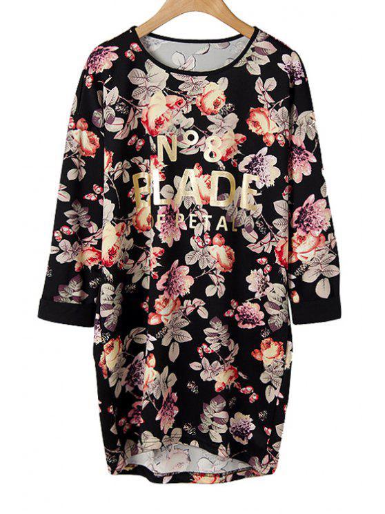 online Letter Floral Print Asymmetrical T-Shirt - BLACK M
