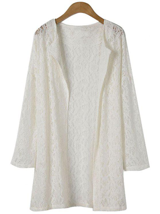 new Solid Color Openwork Lace Coat - WHITE ONE SIZE(FIT SIZE XS TO M)