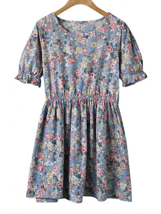 hot Floral Print Ruffle Short Sleeve Dress - BLUE ONE SIZE(FIT SIZE XS TO M)