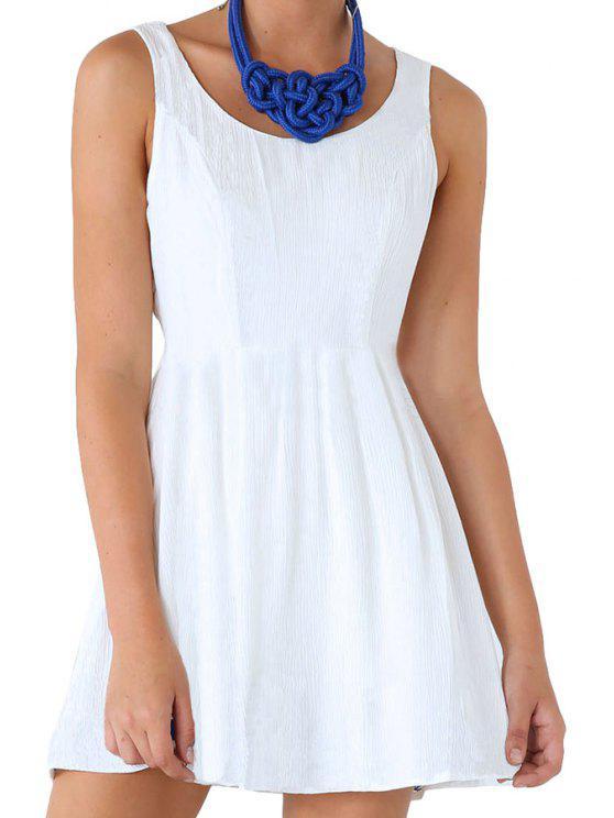 online Scoop Neck Backless Solid Color Dress - WHITE M
