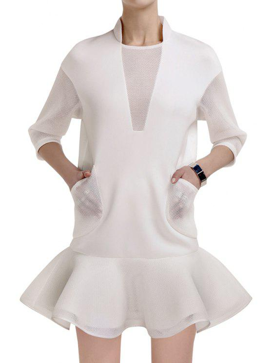 buy Mesh Spliced Ruffled 3/4 Sleeve Dress - WHITE S