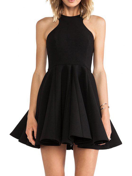 shop Black A-Line Sleeveless Dress - BLACK S