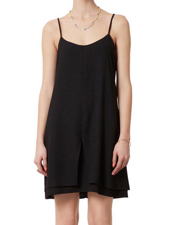 women Black Chiffon Spaghetti Straps Dress - BLACK S