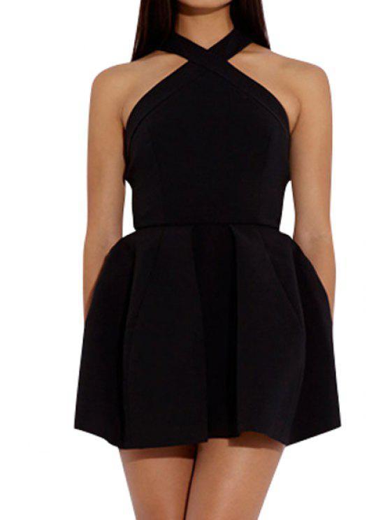 ladies Solid Color Halter A-Line Dress - BLACK S