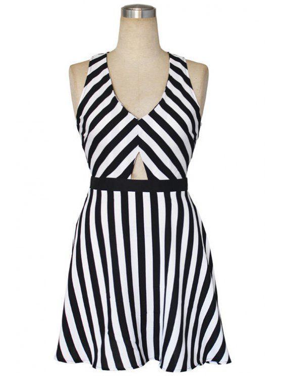 fashion Stripe Openwork Back Cross Sleeveless Dress - STRIPE S